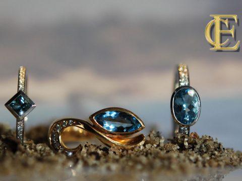 Aquamarin-Ringe in 750/000 Weißgold und Gelbgold aus der Werkstatt Eva-Christine Höfelmaier