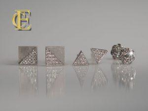 Ohrringe: Brillant Quadrat, Dreieck u Blume in 750 Weißgold mit Brillanten aus der Goldschmiede Eva-Christine Höfelmaier