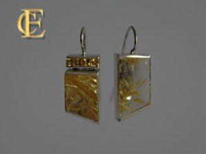 Ohrschmuck-von-Hoefelmaier-in-925-Silber-mit-Bergkristall-Einschluesse-Rutilnadeln-Engelshaar-goldfarben-und-Saphire-gelb-top-modern-001Ohrringe Rutilquarz 3x4